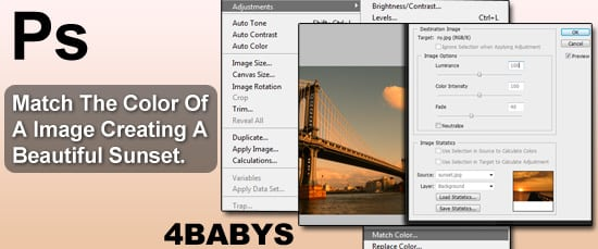 Match The Color Of A Image Creating A Beautiful Sunset